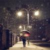 路灯下的雪